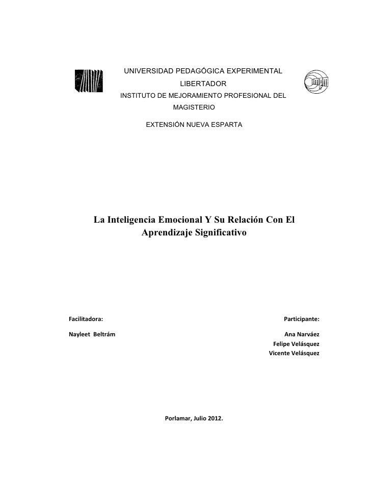 UNIVERSIDAD PEDAGÓGICA EXPERIMENTAL                                  LIBERTADOR                  INSTITUTO DE MEJORAMIENTO...
