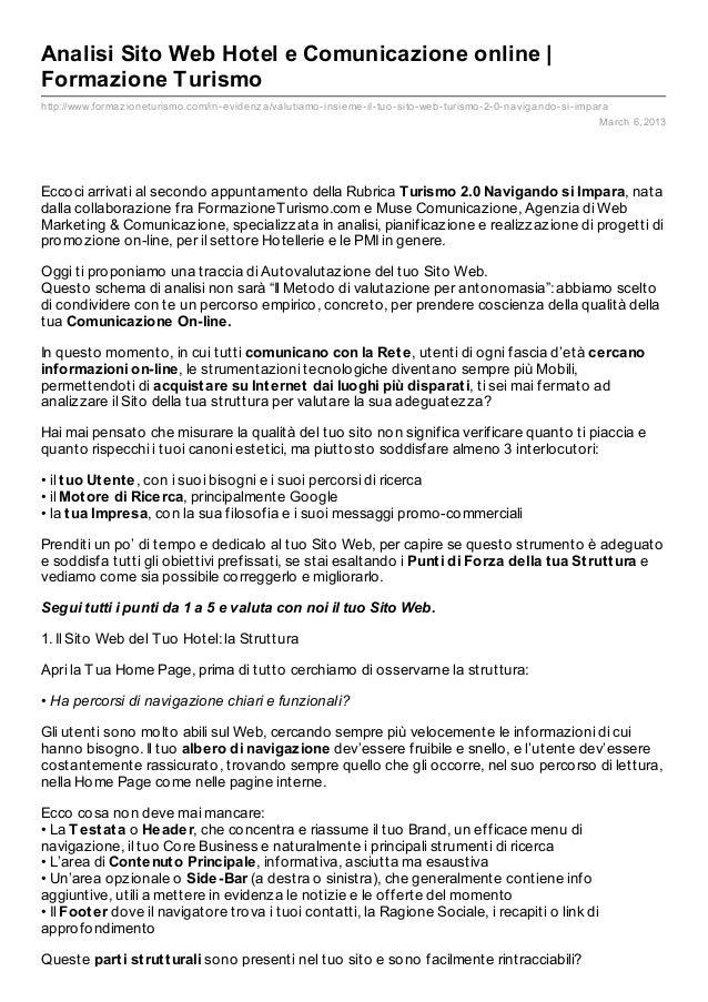 Analisi Sito Web Hotel e Comunicazione online |Formazione Turismohttp://www.formaz ioneturismo.com/in- evidenz a/valutiamo...