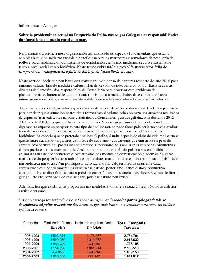 Informe Asoar-Armega: Sobre la problemática actual na Pesqueria do Polbo nas Augas Galegas e as responsabilidades da Conse...