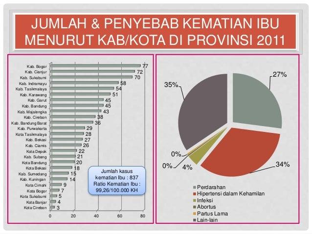 JUMLAH & PENYEBAB KEMATIAN IBU  MENURUT KAB/KOTA DI PROVINSI 2011  27%  35%  0%  0% 4% 34%  Perdarahan  Hipertensi dalam K...