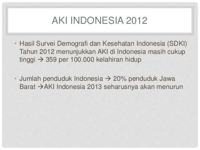 AKI INDONESIA 2012  • Hasil Survei Demografi dan Kesehatan Indonesia (SDKI)  Tahun 2012 menunjukkan AKI di Indonesia masih...