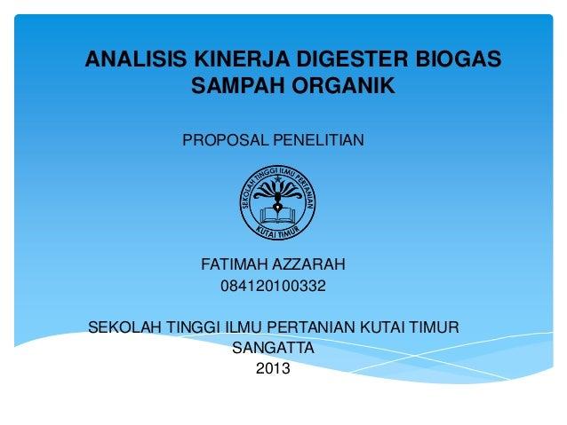 Analisis Kinerja Digester Biogas Sampah Organik