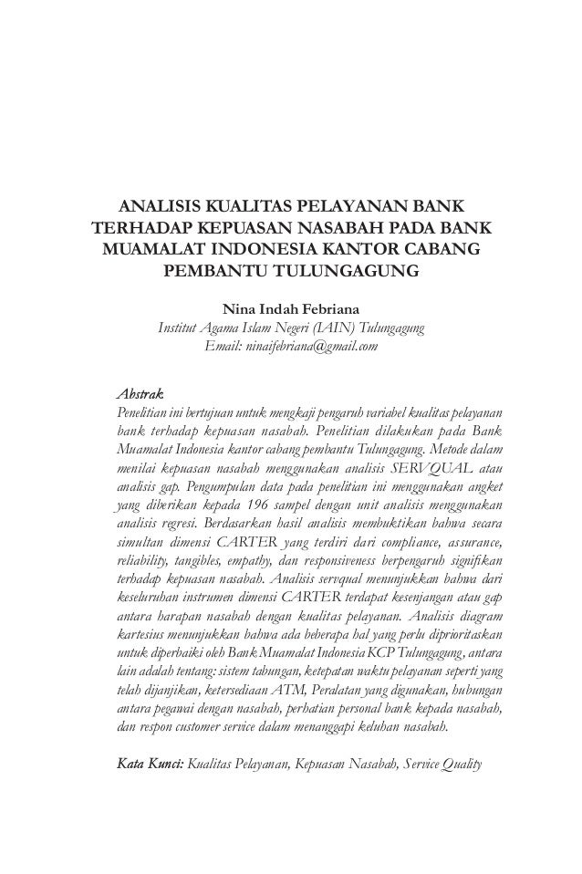 Analisis kualitas pelayanan bank terhadap kepuasan nasabah pada bank analisis kualitas pelayanan bank terhadap kepuasan nasabah pada bank muamalat indonesia kantor cabang pembantu tulungagung ccuart Images