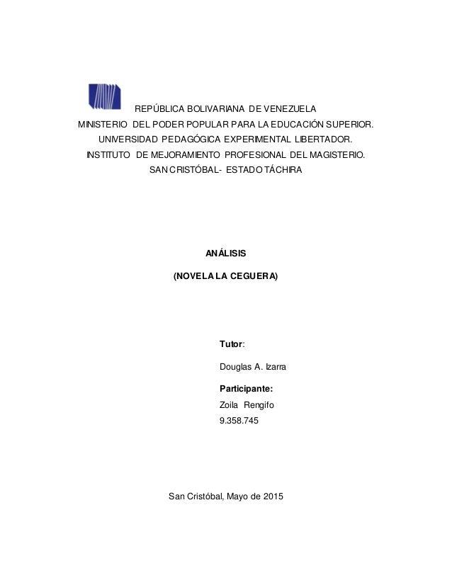 REPÚBLICA BOLIVARIANA DE VENEZUELA MINISTERIO DEL PODER POPULAR PARA LA EDUCACIÓN SUPERIOR. UNIVERSIDAD PEDAGÓGICA EXPERIM...
