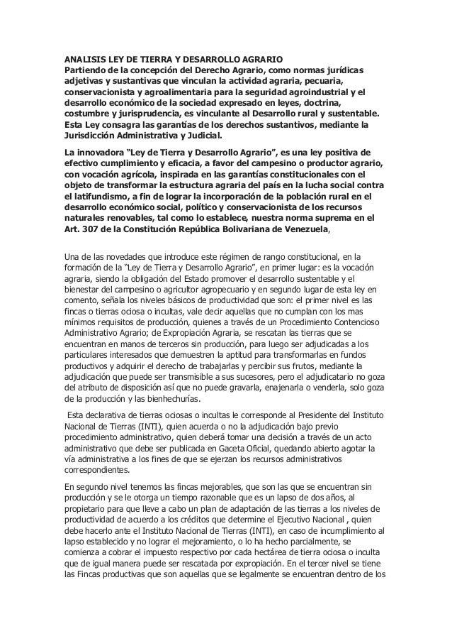 ANALISIS LEY DE TIERRA Y DESARROLLO AGRARIO Partiendo de la concepción del Derecho Agrario, como normas jurídicas adjetiva...