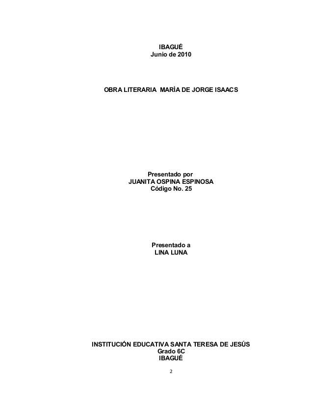 Analisis Literario La Maria