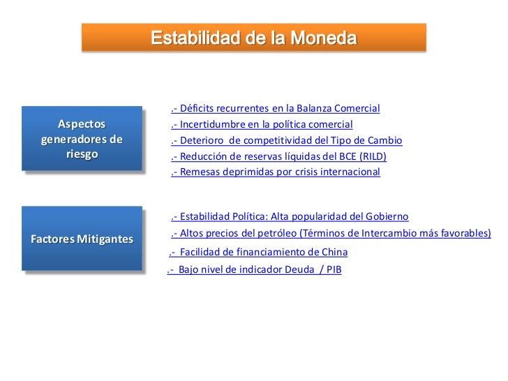 Estabilidad de la Moneda                        .- Déficits recurrentes en la Balanza Comercial    Aspectos            .- ...