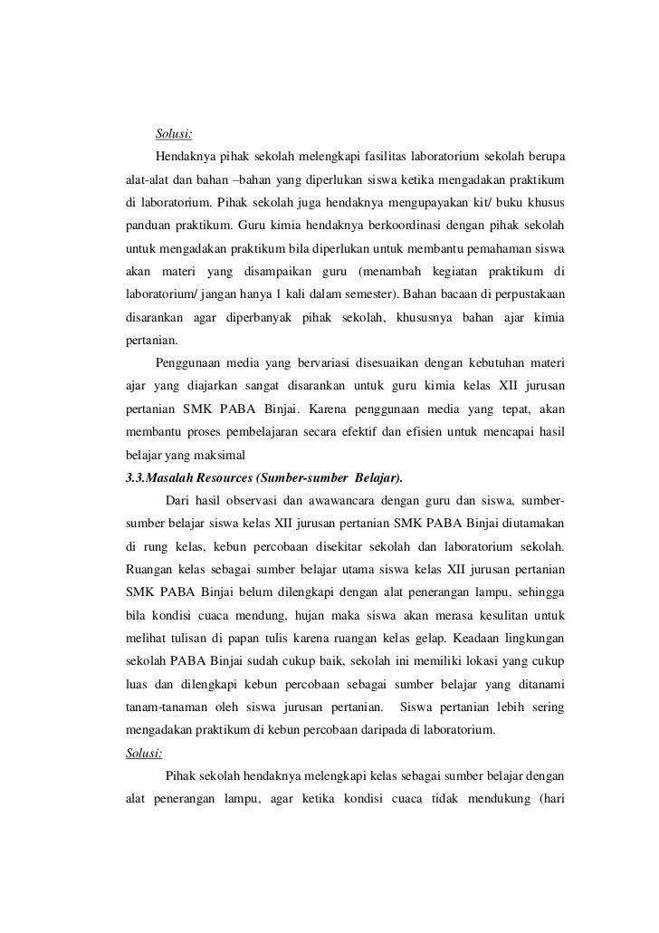 Analisis Masalah Pembelajaran Kimia Smk Paba Binjai