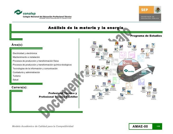 Análisis de la materia y la energía                                                                            Programa de...