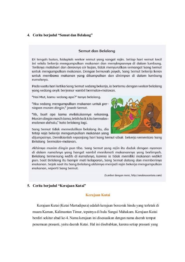 Analisis Materi Sastra Pada Kompetensi Dasar Kelas 4 Sd