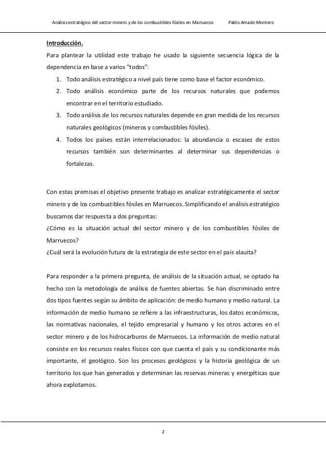 Análisis estratégico del sector minero y de los combustibles fósiles en Marruecos Pablo Amado Montero 4 2. Prospectividad ...
