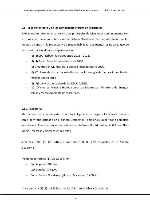 Análisis estratégico del sector minero y de los combustibles fósiles en Marruecos Pablo Amado Montero 9 - En disputa con M...