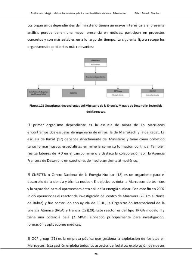 Análisis estratégico del sector minero y de los combustibles fósiles en Marruecos Pablo Amado Montero 30 (22). Es un organ...