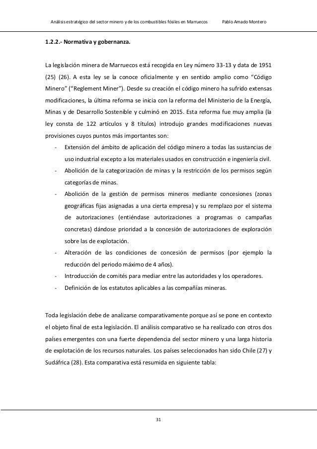 Análisis estratégico del sector minero y de los combustibles fósiles en Marruecos Pablo Amado Montero 33 Chile Marruecos S...