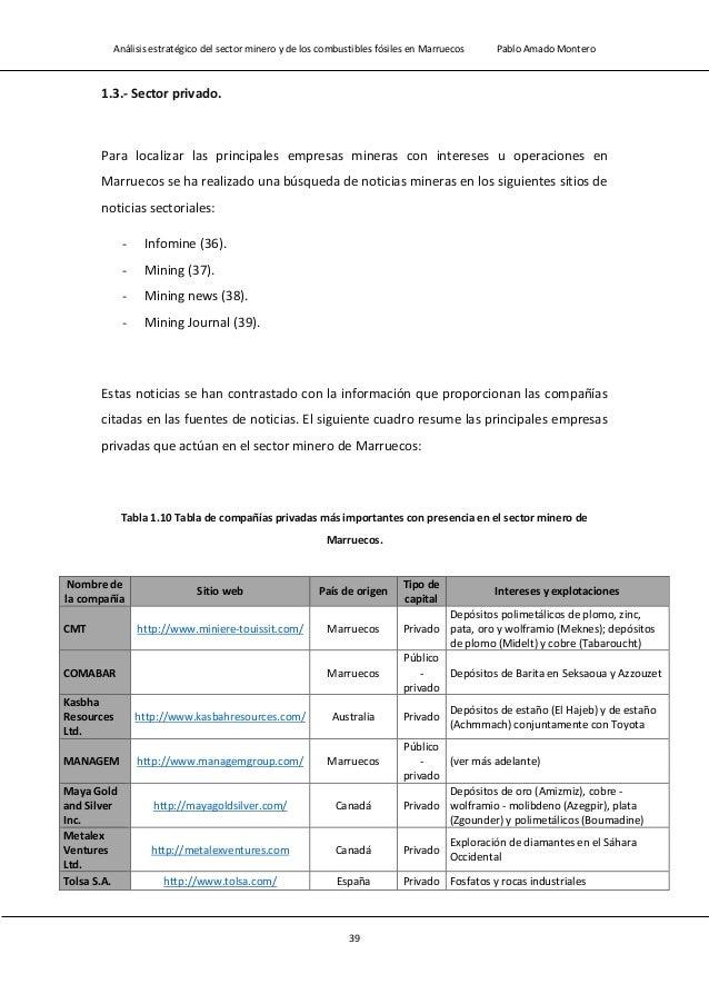 Análisis estratégico del sector minero y de los combustibles fósiles en Marruecos Pablo Amado Montero 41 Nombre de la conc...