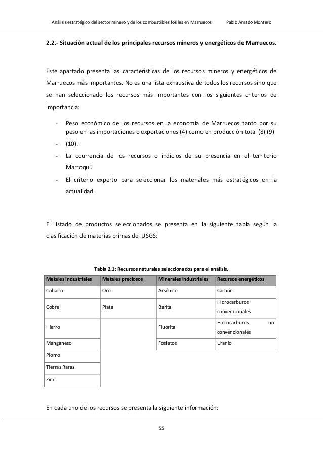 Análisis estratégico del sector minero y de los combustibles fósiles en Marruecos Pablo Amado Montero 57 2.2.1.- Metales i...
