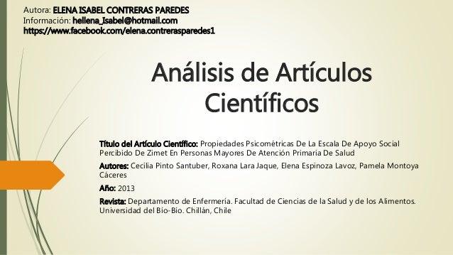 Análisis de Artículos Científicos Título del Artículo Científico: Propiedades Psicométricas De La Escala De Apoyo Social P...