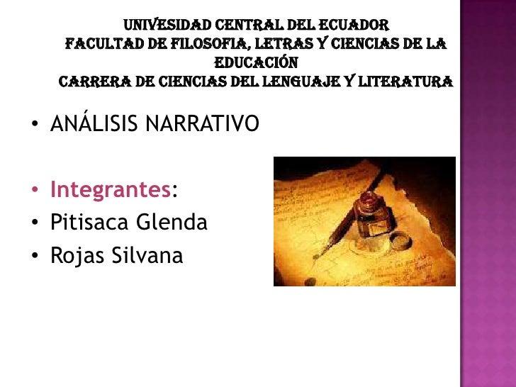 UNIVESIDAD CENTRAL DEL ECUADOR   FACULTAD DE FILOSOFIA, LETRAS Y CIENCIAS DE LA                    EDUCACIÓN  CARRERA DE C...