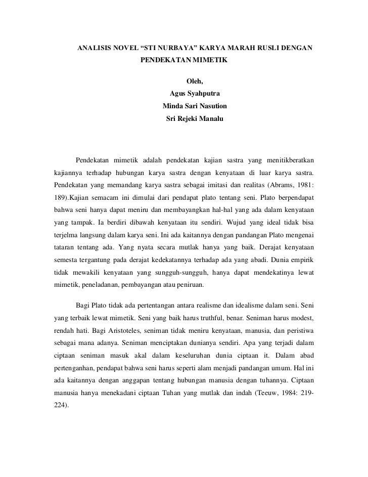 Analisis Novel Pdktn Mimesis