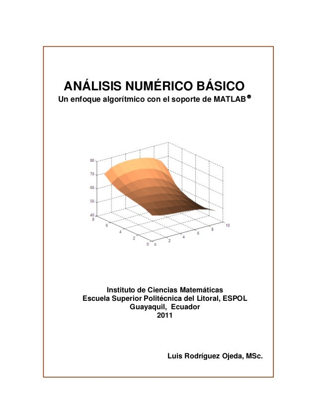 ANÁLISIS NUMÉRICO BÁSICO Un enfoque algorítmico con el soporte de MATLAB   Instituto de Ciencias Matemáticas Escuela Supe...