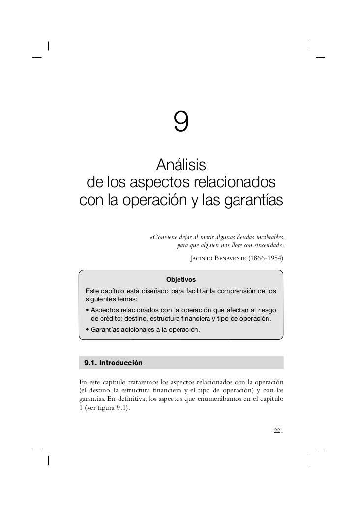 9            Análisis de los aspectos relacionadoscon la operación y las garantías                        «Conviene dejar ...