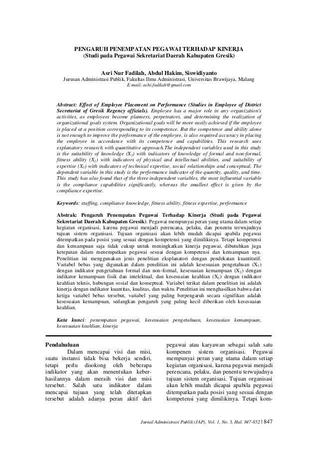Jurnal Administrasi Publik (JAP), Vol. 1, No. 5, Hal. 847-852 | 847 PENGARUH PENEMPATAN PEGAWAI TERHADAP KINERJA (Studi pa...