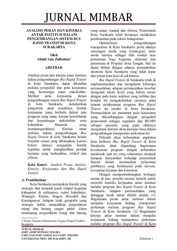 JURNAL MIMBAR   ANALISIS PERAN DAN KINERJA                        yang aman, handal dan efisien, Pemerintah     ANTAR INST...