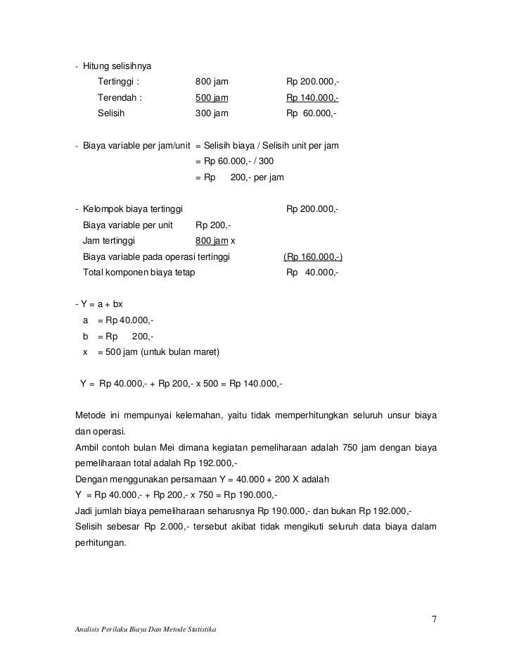 Analisis Perilaku Biaya