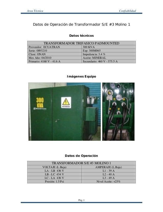 Area Técnica Confiabilidad Pág. 1 Datos de Operación de Transformador S/E #3 Molino 1 Datos técnicos TRANSFORMADOR TRIFASI...