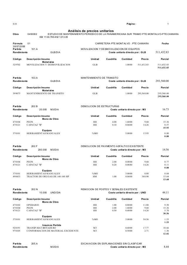 S10 Página : 1 Análisis de precios unitarios Obra 0493002 ESTUDIO DE MANTENIMIENTO PERIODICO DE LA PANAMERICANA SUR TRAMO ...