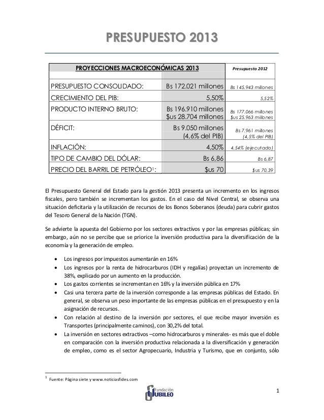 PRESUPUESTO 2013                 PROYECCIONES MACROECONÓMICAS 2013                              Presupuesto 2012    PRESUP...