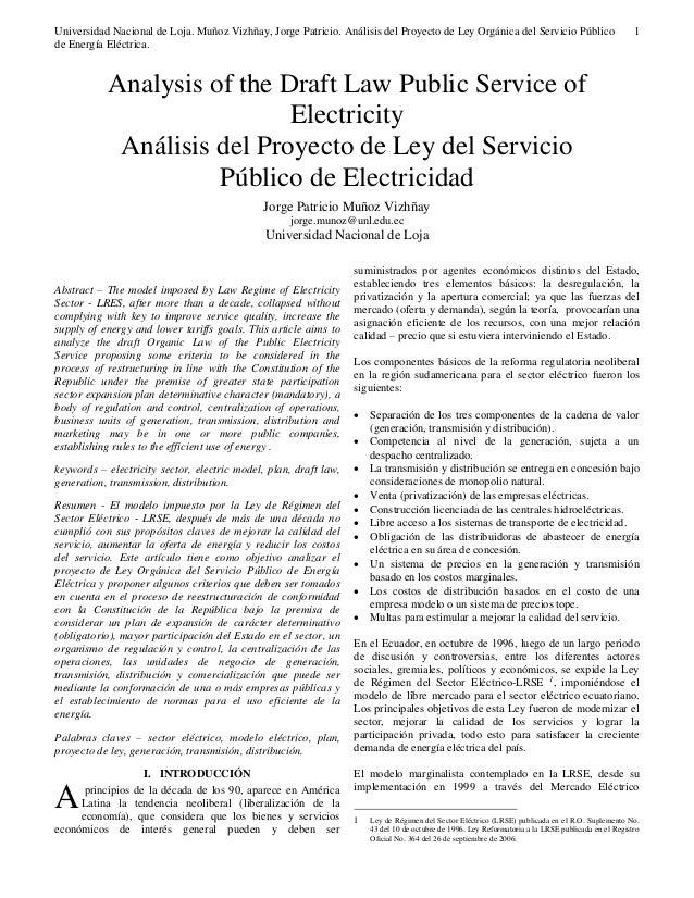 Universidad Nacional de Loja. Muñoz Vizhñay, Jorge Patricio. Análisis del Proyecto de Ley Orgánica del Servicio Público de...