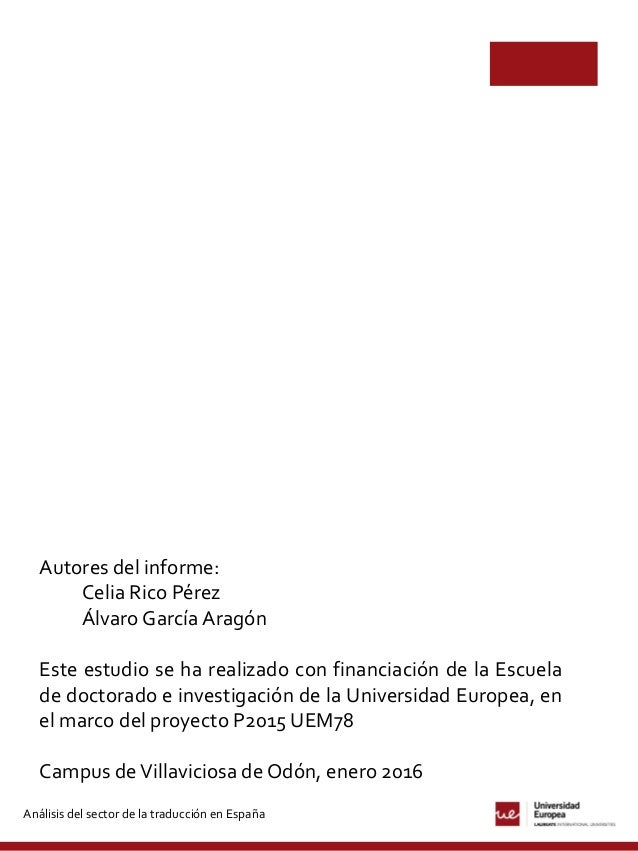 Análisis del sector de la traducción en España (2014-2015) Slide 2