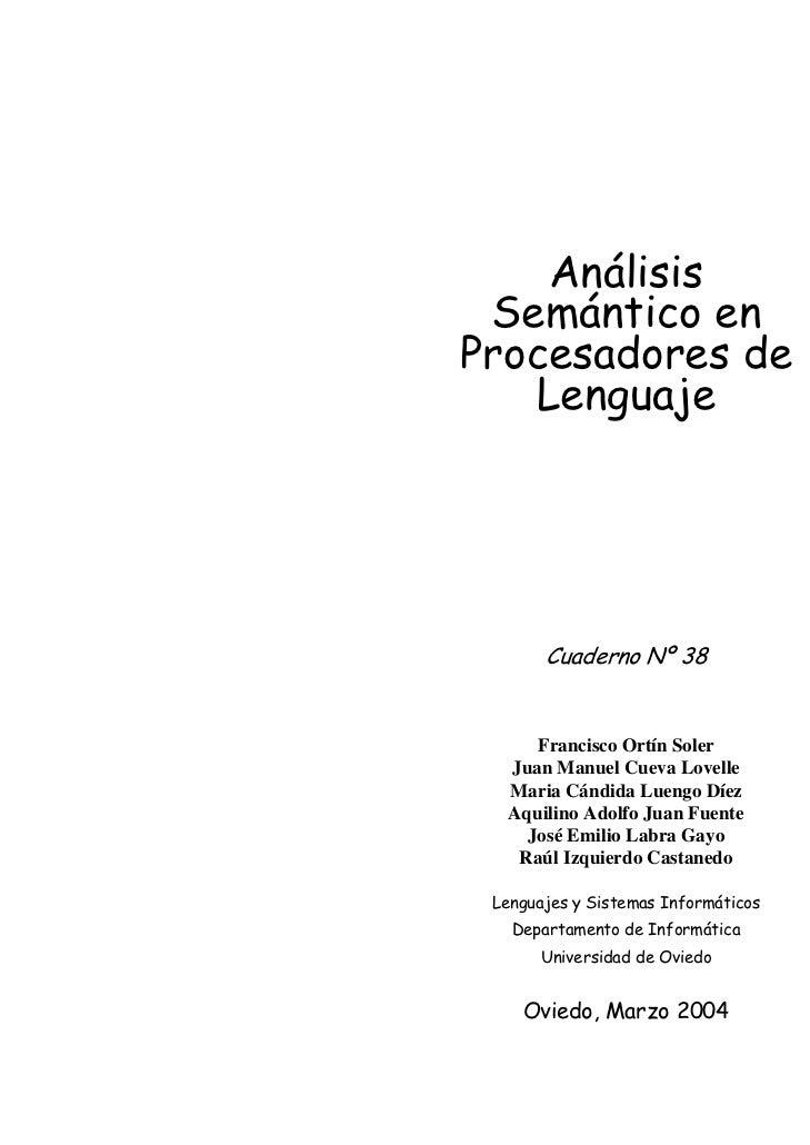 Análisis                     Semántico en                    Procesadores de                       Lenguaje               ...