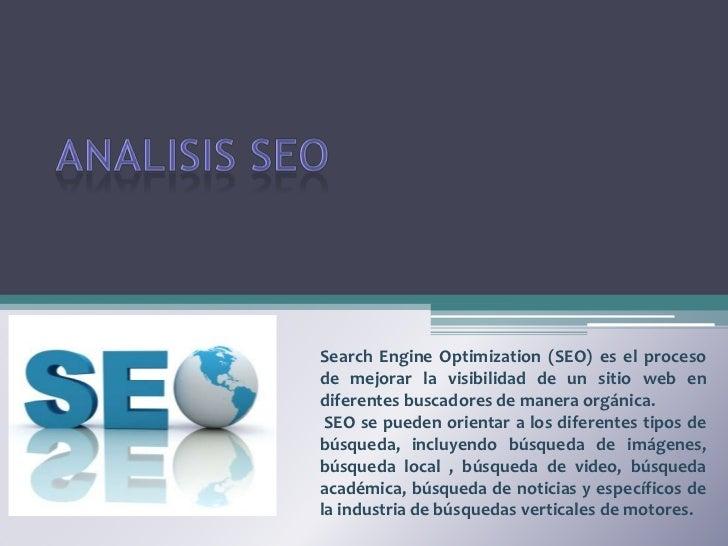 Search Engine Optimization (SEO) es el procesode mejorar la visibilidad de un sitio web endiferentes buscadores de manera ...
