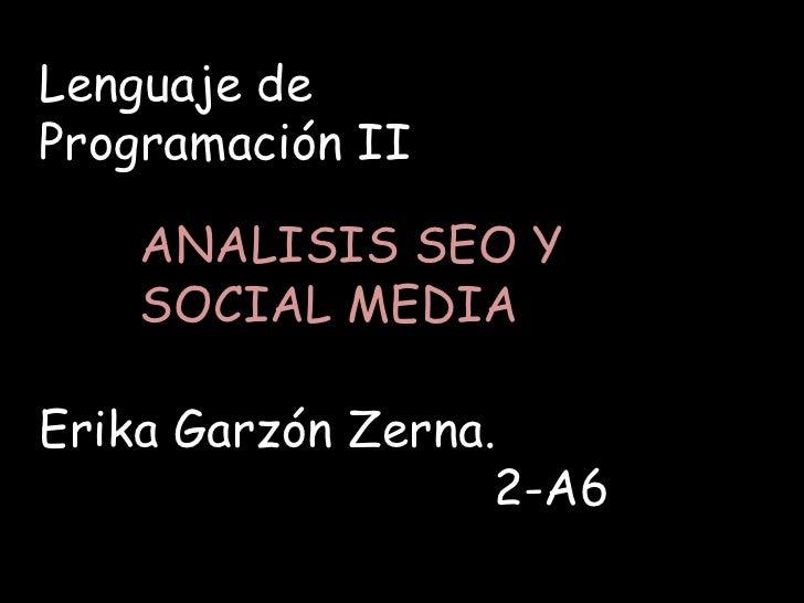 Lenguaje deProgramación II    ANALISIS SEO Y    SOCIAL MEDIAErika Garzón Zerna.                   2-A6