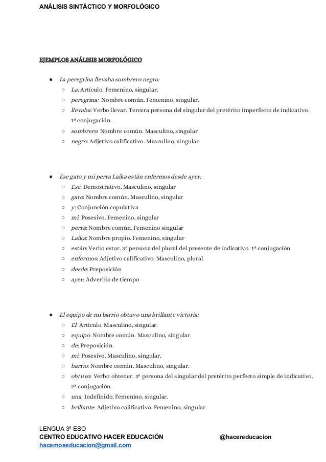 Lengua 3º Eso Análisis Sintáctico Y Morfológico