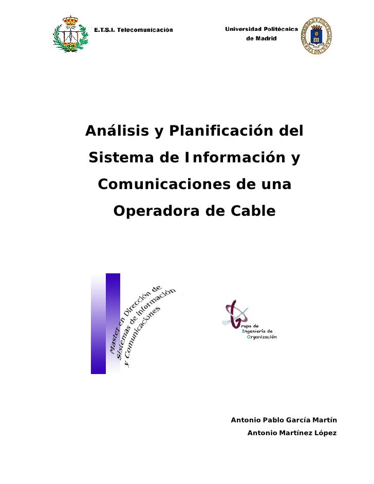 Análisis y Planificación del Sistema de Información y  Comunicaciones de una    Operadora de Cable                       A...