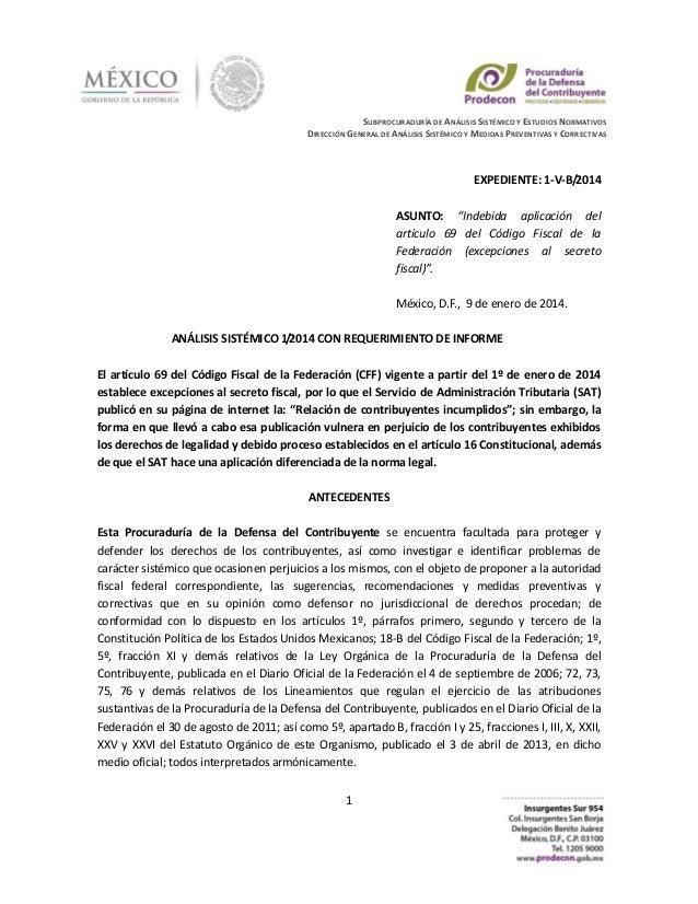 SUBPROCURADURÍA DE ANÁLISIS SISTÉMICO Y ESTUDIOS NORMATIVOS DIRECCIÓN GENERAL DE ANÁLISIS SISTÉMICO Y MEDIDAS PREVENTIVAS ...