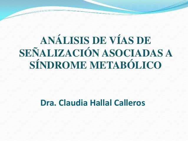 Dra. Claudia Hallal Calleros ANÁLISIS DE VÍAS DE SEÑALIZACIÓN ASOCIADAS A SÍNDROME METABÓLICO