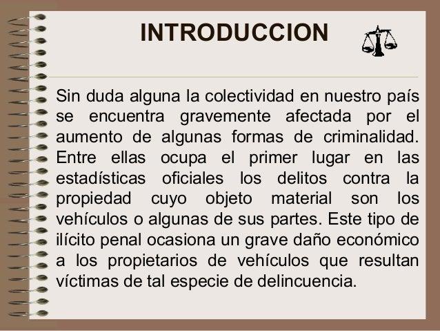 Analisis sobre la ley sobre el hurto y robo de vehiculos