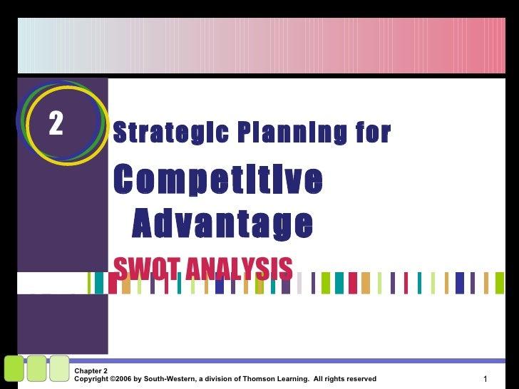 <ul><li>Strategic Planning for  </li></ul><ul><li>Competitive Advantage </li></ul><ul><li>SWOT ANALYSIS </li></ul>2