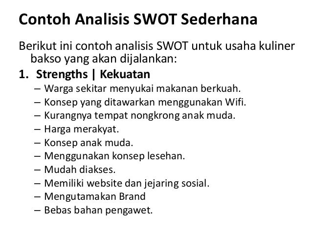Analisis swot, bep dan proposal usaha