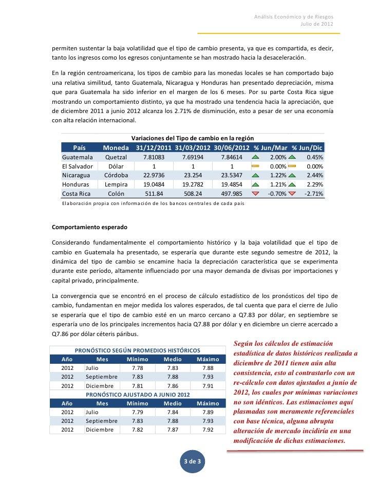 Analisis Tipo de Cambio en Guatemala. Revision al 30 de Junio de 2012