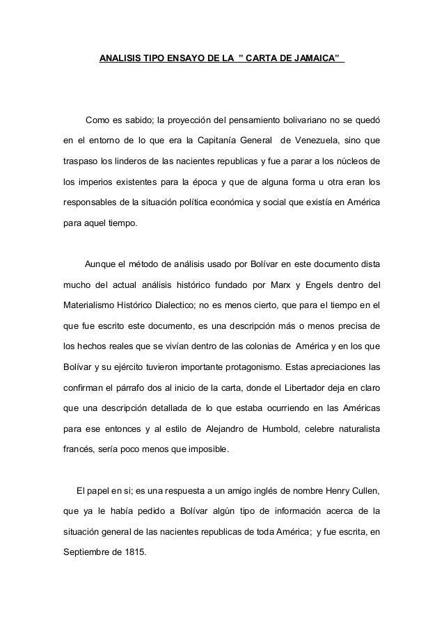 """ANALISIS TIPO ENSAYO DE LA """" CARTA DE JAMAICA"""" Como es sabido; la proyección del pensamiento bolivariano no se quedó en el..."""