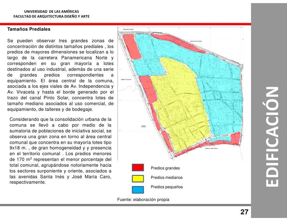 UNIVERSIDAD DE LAS AMÉRICAS   FACULTAD DE ARQUITECTURA DISEÑO Y ARTE   Tamaños Prediales  Se pueden observar tres grandes ...