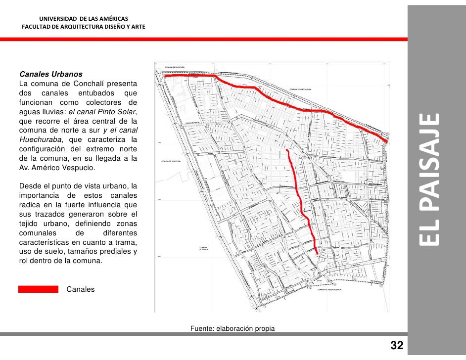 UNIVERSIDAD DE LAS AMÉRICAS FACULTAD DE ARQUITECTURA DISEÑO Y ARTE     Canales Urbanos La comuna de Conchalí presenta dos ...