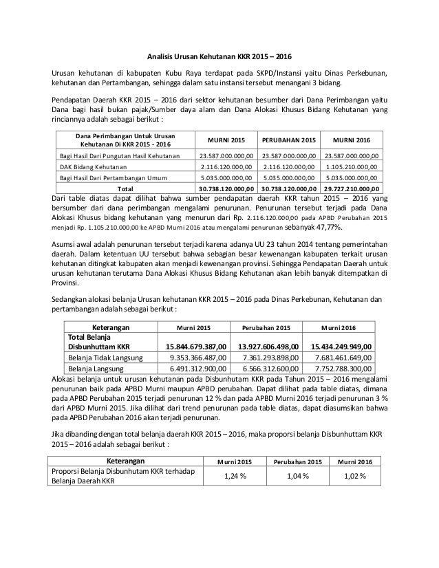 Analisis Urusan Kehutanan KKR 2015 – 2016 Urusan kehutanan di kabupaten Kubu Raya terdapat pada SKPD/Instansi yaitu Dinas ...