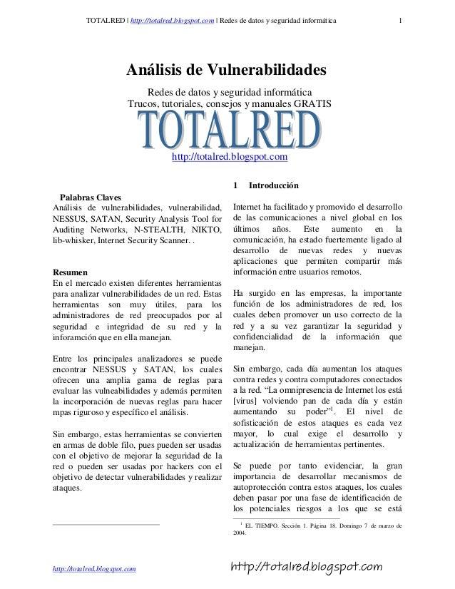 TOTALRED | http://totalred.blogspot.com | Redes de datos y seguridad informática                       1                  ...