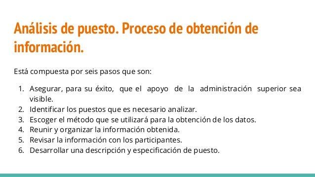 Análisis de puesto. Proceso de obtención de información. Está compuesta por seis pasos que son: 1. Asegurar, para su éxito...